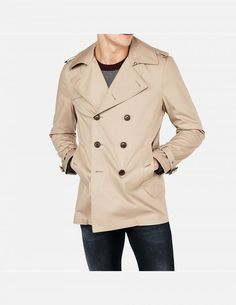 Product Features Spread collar, Notch neckline Long sleeves with belt accents, Shoulder epaulettes Button front, Button hand pockets, Straight hem Shorter l Long Coats, Trench, Long Sleeve, Cotton, Jackets, Fashion, Clothing, Down Jackets, Moda