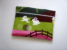 13 inch Laptop Sleeve with Pocket White Rabbits by Babimini