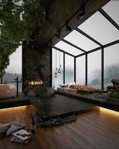 Home Room Design, Dream Home Design, Modern House Design, My Dream Home, Loft Design, Dream House Interior, Luxury Homes Dream Houses, Dark House, Forest House