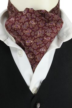 A delightful casual day reversible cravat with a paisley neat design on the face side and a striped design on the reverse.