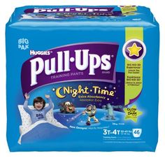 Pull-Ups Night-time Training Pants, Size 3T-4T, Boy, 46 Count (Pack of 2) Fits boys 3T-4T (32-40 lbs) and are as absorbent as the leading night time diaper when compared to the leading Size 4 diaper for overnight protection. Pull-Ups Night Time Training Pants for Boys feature an underwear-like waistband helps your toddler learn how to pull them on and off like regular underwear. Pull-Ups Training ... #Pull-Ups #Health_and_Beauty