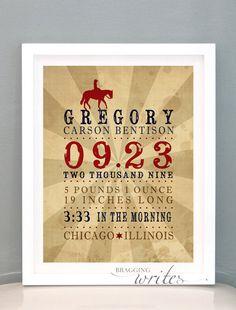 Cowboy Themed Custom Birth Stat Print Wall Art Nursery Decor or Birth Announcement- Printable (Western Theme). $15.00, via Etsy.