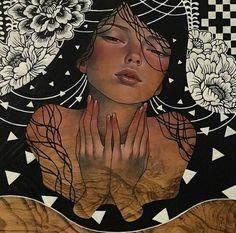 Mixed media illustration on wood by Audrey Kawasaki Audrey Kawasaki, Art Journal Inspiration, Art Inspo, Illustrations, Illustration Art, Transformers Art, Black Women Art, Book Cover Art, Geek Art