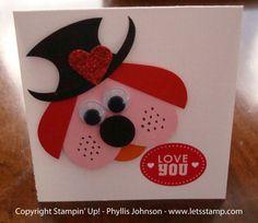 Stampin' Up!  Punch Art  Phyllis Johnson  Valentine Puppy