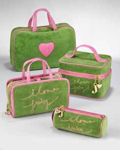Juicy Couture - i love juicy - pink and green make-up cases