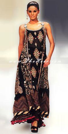 AK7442 Black Crinkle Chiffon Anarkali Style Bollywood Anarkarli Dresses, Black Anarkali Dresses UK, Anarkali Style Salwar, Heavy Anarkali Suits Anarkali