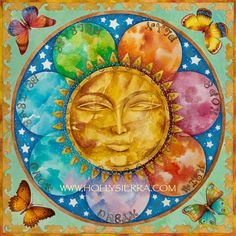The Crystal Sun - A Rainbow Sun Face With Butterflies
