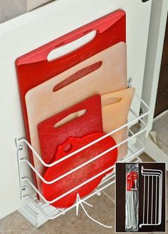 Install a wire rack on the inside of cabinet door to store your cutting boards and baking sheets. In order to prevent the boards from slipping out, you just tie a few zip ties on the bottom of rack.