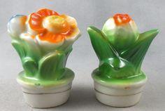Vintage Flower Salt and Pepper Shakers Japan