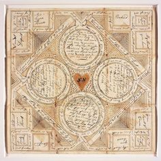 """Envelope for Love Token for Sarah Newlin - 1799 - American Folk Art Museum. An unfolded paper """"Puzzle Purse""""."""