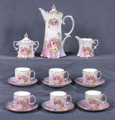 Pink Victorian Roses Luster China Tea Set 15 Piece