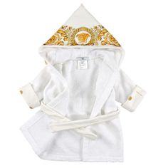 e94bb283a4 Young Versace Hooded Baby s first after-bath style  the fine Young Versace  bathrobe in terry towelling The hood with Barocco floral print and golden  Medusa ...