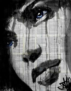 ALWAYS by Loui Jover. Ink and gouache on vintage book pages. $900 available to buy at: http://www.bluethumb.com.au/louijover/Artwork/always #art #ink #vintage #face #portrait #woman #bookpages #artistic #blueeyes