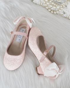 a555d6c145be Girls Glitter Heels - Allover DUSTY PINK Rock Glitter Maryjane Heels With  Satin Bow