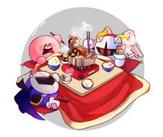 Galacta Knight, Meta Knight and Kirby eating Korean BBQ. Super Smash Bros 3ds, Cute Characters, Disney Characters, Kirby Character, Pokemon, Meta Knight, Cute Games, Naruto, Anime Comics