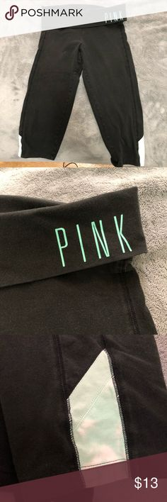 """Cropped tie dye capris from VS PINK size M Very cute black capris size M from Victoria's Secret PINK, top band is black with """"PINK"""" in teal on the side. Bottoms of capris have blue tie die print. In fantastic used condition. PINK Victoria's Secret Pants Capris"""