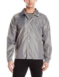 Brixton Men's Wheeler Standard Fit Windbreaker Jacket, Grey/Black, Large