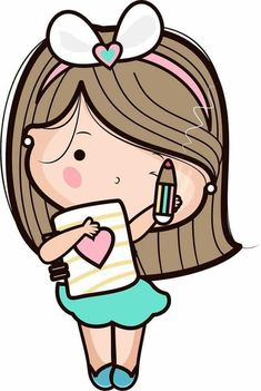 Cute Pictures To Draw, Cute Images, Art Drawings For Kids, Cute Drawings, Girl Cartoon, Cute Cartoon, Bible Doodling, Kawaii Doodles, Cute Clipart