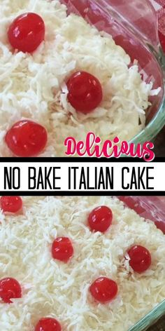 This NO BAKE ITALIAN CAKE is like heaven in your mouth! It's just that good! And you don't even have to turn on the oven to make it! Easy and Delicious is always the best! Your going to want to share this one! Köstliche Desserts, Delicious Desserts, Dessert Recipes, Yummy Food, Italian Cream Cakes, Italian Cake, Baking Recipes, Cookie Recipes, Pasta Recipes