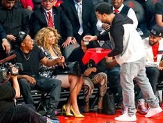 Drake served drinks to Jay-Z and Beyonce during the NBA All-Star game.