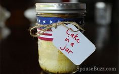 Care package surprise, cake in a jar. Send to military personnel deployed overseas, college kids away from home, great for a camping trip or for party favors. Keeps a while, but not indefinitely.