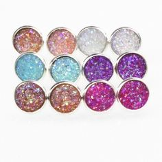 Handmade Druzy /Drusy Resin Dome Seals Cabochon Round Earrings Fashion Trendy Woman Jewelry 1Pair e073