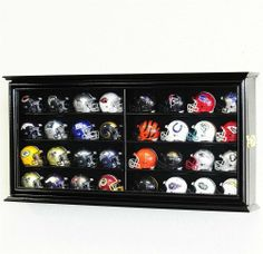 32 Pocket Pro mini Helmet Display Case Cabinet Holders Rack w/ UV Protection, Black by sfDisplay.com, Factory Direct Display Cases. $55.99. This solid furniture grade beech hardwood case features a UV protected acrylic door for keeping out dust and 4 beveled shelves for displaying 32 Riddell Pocket Pros mini helmets. This case is prefect for displaying a full set of team helmets, all 32 teams and the case is even partitioned so that you can face against the 16 teams from each...