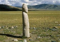 Photo: Turkic period image stone stands in Western Mongolia.