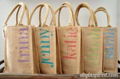 Fun and Easy stenciled DIY Bachelorette Party Favor Bags, a tutorial sponsored by burlapfabric.com