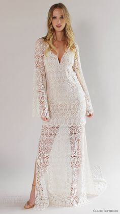 Romantique by Claire Pettibone Spring 2017 Wedding Dresses  #bridal #wedding #weddingdress #weddinggown #bridalgown #dreamgown #dreamdress #boho #bohochic #bohemian #lace #engaged #inspiration #bridalinspiration #weddinginspiration #weddingdresses