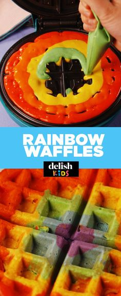 The Technique Behind Rainbow Waffles Is Absolutely Mesmerizing Easy Toddler Meals, Kids Meals, Waffle Recipes, Snack Recipes, Kid Recipes, Snacks, Party Recipes, Cream Recipes, Vegetarian Recipes