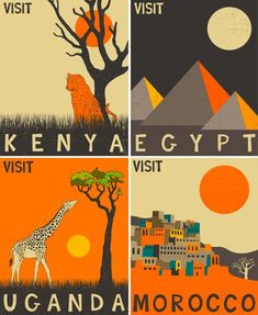 African travel posters inspired by vintage 50s and 60s design by Jazzberry Blue