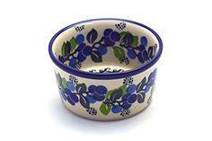 <3 <3 Polish Pottery Ramekin - Blue Berries