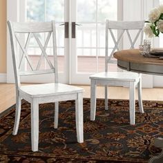 Three Posts Florissant Solid Wood Cross Back Side Chair (Set of , Solid Wood Dining Chairs, Upholstered Dining Chairs, Dining Chair Set, Dining Room Chairs, Side Chairs, French Cottage Style, Wood Crosses, Kitchen Chairs, Kitchen Dining