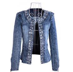 Women's Retro Stretch Denim Shirt Denim Diamond Sequins Long - Sleeved Jacket