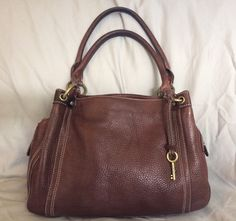 Fossil Chestnut Brown Pebbled Leather Satchel bag purse-Beautiful!