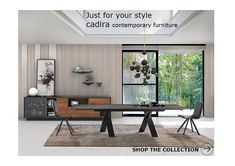 Ikea Decor, Room Decor, Dining Table, Dining Rooms, Dining Area, Coffee Bar Design, Interior Design Renderings, Leather Bed, Office Interiors