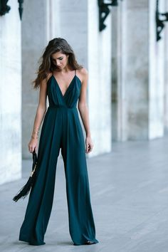 Teal jumpsuit, fringe bag, date outfit, transitional spring outfit.