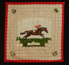 """PRINTED SILK """"WINNERS OF THE DERBY"""" SCARF, 1969. Depicting derby winners from 1780-1969 on red ground, surrounding 1969 winning horse and jockey. Published by Welch, Margetson & Co. Ltd, London, England."""