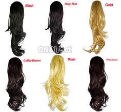 """$3.40  15"""" Women's Wavy Half Head Curly Synthetic Hair Extensions 6 Colors"""