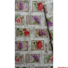 Material  bumbac 140cm lat - draperie - red-purple postal flowers