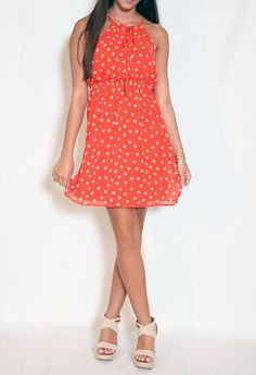 Sleeveless Print Polka Dot Dress