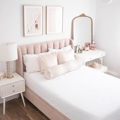 Blush and Gold Bedroom Pink Velvet Bed PB Teen Pink Velvet Bed White and Brass Ceiling Fan Brass Ceiling Fan Gold Anthropologie Mirror Spotted Bolster Pillow Minted Artwork Blush And Gold Bedroom, Pink And Gold Bedding, Girls Bedroom, Bedroom Decor, Bedroom Ideas, Bedroom Designs, Modern Bedroom, Pb Teen Bedrooms, Bedroom Bed