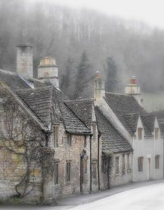 """pagewoman: """" Misty morning, Castle Combe, Cotswolds, Wiltshire, England by P.M.Y. """""""