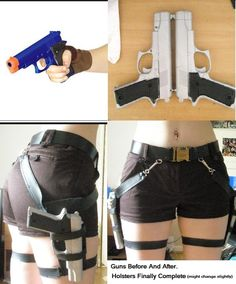 Cosplay Costume tomb raider holster and gun set Cosplay Diy, Cosplay Makeup, Cosplay Outfits, Halloween Cosplay, Halloween Costumes, Lara Croft Cosplay, Lara Croft Costume, Diy Fashion, Ideias Fashion