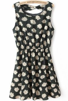 Dark Green Sleeveless Floral Backless Pleated Dress pictures