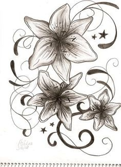 Stars And Swirls Tattoo Designs | ArtLily Flower Tattoo Designs Water Armband This