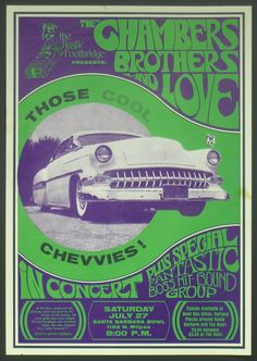 Bob Masse's rock venue poster for The Chambers Brothers in Santa Barbara, CA  1969