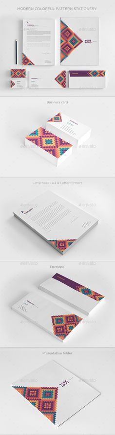 Modern Colorful Pattern Stationery - Stationery Print Templates