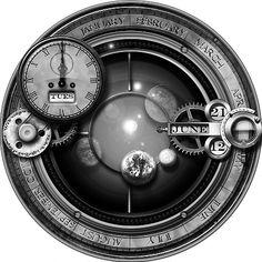 Steampunk Orrery GreyScale Icon